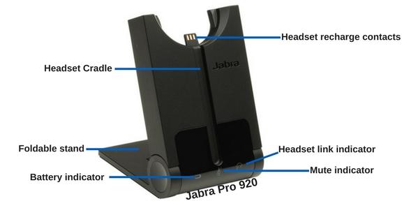 Jabra pro 920 wireless headset base, front view