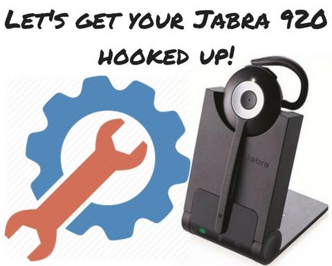 c91ab5d0fb8 Jabra Pro 920 and an icon of a gear and wrench showing setup. Hooking up a wireless  headset ...