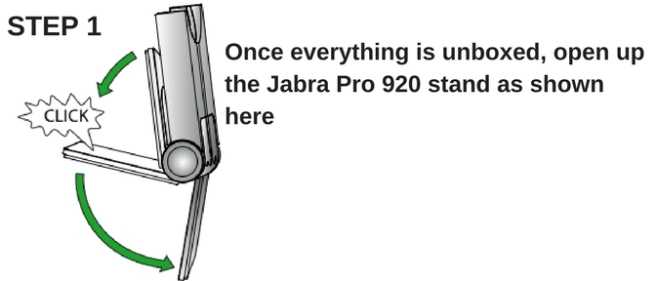 Line drawing of a Jabra Pro 920 stand being opened