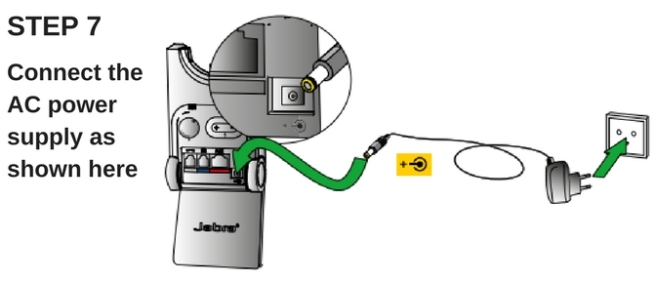 line drawing of Jabra Pro 920 with ac power connection info
