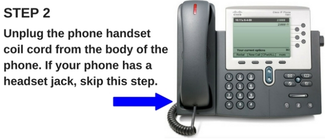 desk phone with instructions to unplug the handset cord
