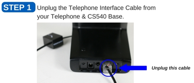 Plantronics CS540 headset base showing telephone cord